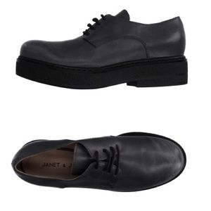 Janet & Janet Black Chunky Lace Up Shoes